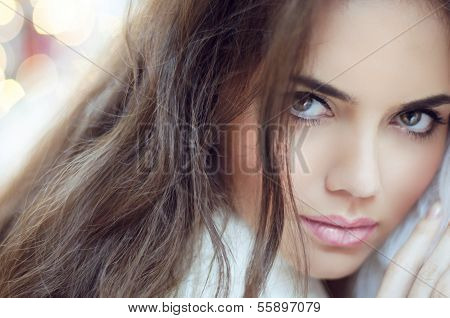 Glamour Fashion Woman Portrait. Makeup And Hair.