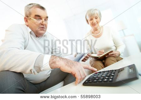 Mature man and his wife making financial revision at home