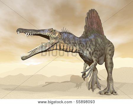 Spinosaurus Dinosaurier in der Wüste 3d Render