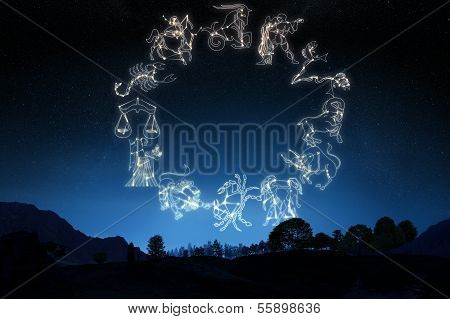 Zodiac Sign's on a gradient sky background .