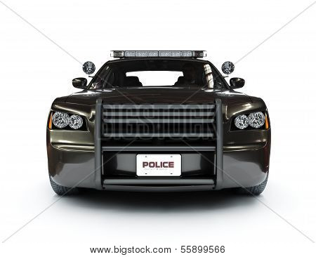 Police modern car on a white background