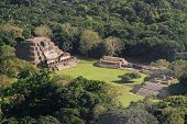 stock photo of atonement  - aerial view of Altun Ha maya ruins in the tropical jungle of Belize - JPG