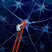 picture of nerve cell  - Brain doctor on a red ladder examining the neurons of a human head trying to heal memory loss or damaged cells due to dementia and other neurological diseases as a mental health metaphor for medical research hope - JPG