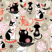 Floral Pattern With Cats