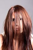 image of possess  - horror portrait of angry possessed scary woman - JPG