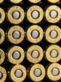 pic of slug  - A stack of copper plated bullets with brass slugs lined in rows - JPG