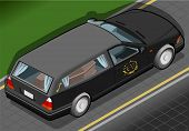 Isometric Hearse In Rear View