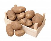 foto of solanum tuberosum  - a crate with russet potato isolate on white - JPG