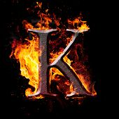 stock photo of letter k  - Letters and symbols in fire  - JPG