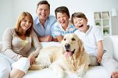 stock photo of petting  - Portrait of happy family with their pet having good time at home - JPG