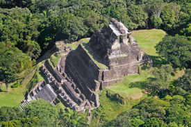 image of atonement  - Aerial view of Xunantunich Mara Ruins in the jungle of Belize - JPG