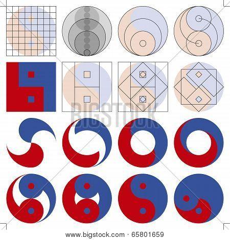 Set of Yin Yang Symbols Design Study