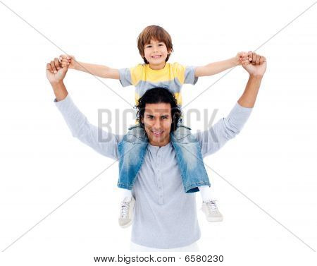 Attentive Father Playing With His Son