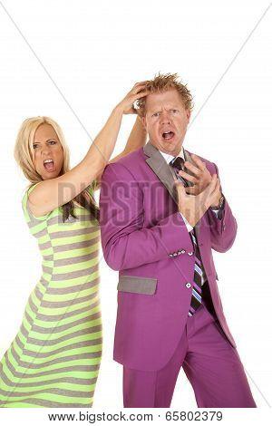 Man Purple Suit Woman Green Dress Grab Hair Crazy
