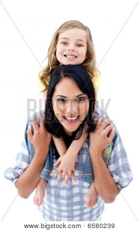 Happy Mother Giving Her Little Girl Piggyback Ride
