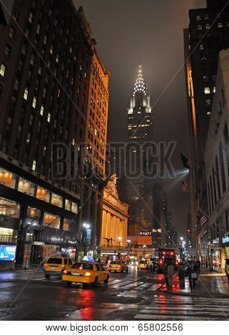 East 42Nd Street, New York On Rainy Night.
