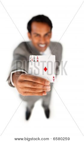 Successfull Businessman Holding All The Aces
