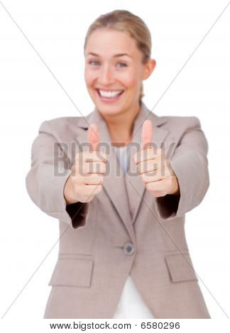 Lucky Businesswoman With Thumbs Up
