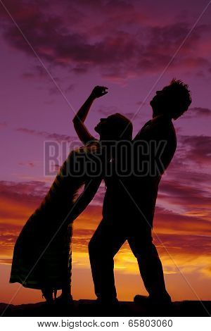 Silhouette Man Woman Bend Back Her Hand Up