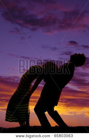 Silhouette Man Woman Bend Back Look Up