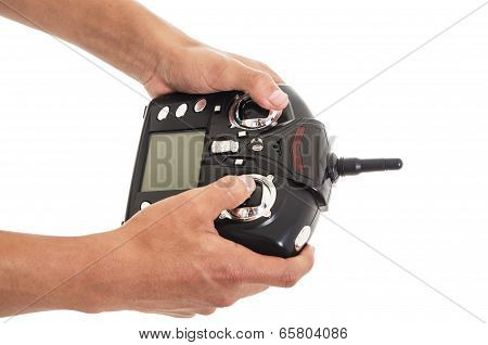 man with rc remote transmitter