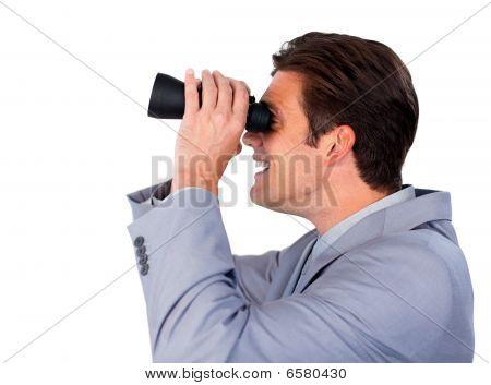 Happy Businessman Using Binoculars