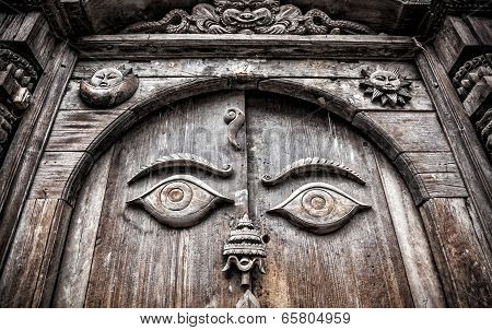 Wooden Door With Eyes