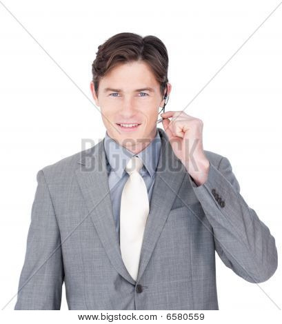 Confident Young Businessman Using Headset
