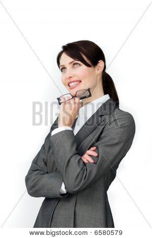 Positive Businesswoman Holding Glasses