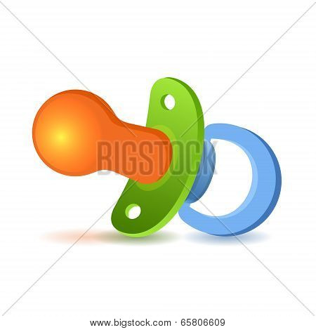Baby pacifier on white background.