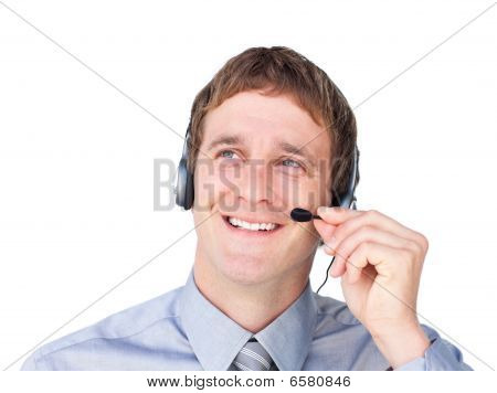 Assertive Businessmnan With Headset On Looking Up