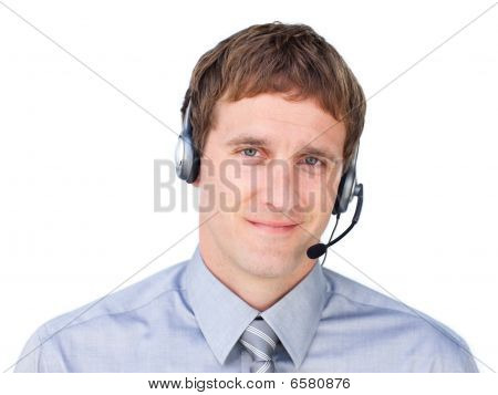 Confident Businessmnan With Headset On