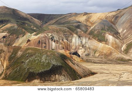 Iceland. South Area. Fjallabak. Volcanic Landscape With Rhyolite Formations