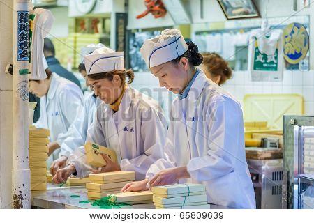 Worker at Tsukiji Market in Tokyo