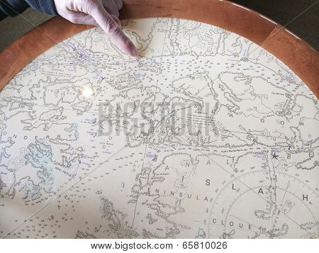 Patagonian Map With Hand On A Ship