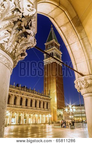 San Marco square in Venice at night