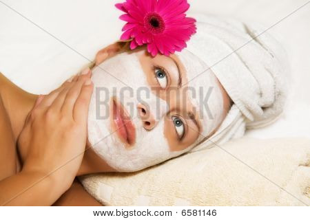 Gorgeous woman in the beauty center