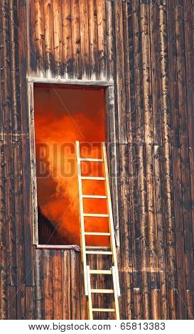 Orange Smoke Escapes From A Wooden House During The Fire