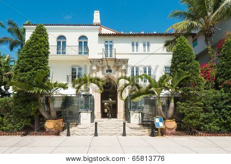 MIAMI,USA - MAY 21,2014 : The Versace Mansion at Ocean Drive. Formerly owned by the designer Gianni Versace this building in South Beach is one of the photographed attractions in the United States
