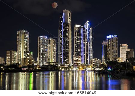 Gold Coast cityscape with Red Moon