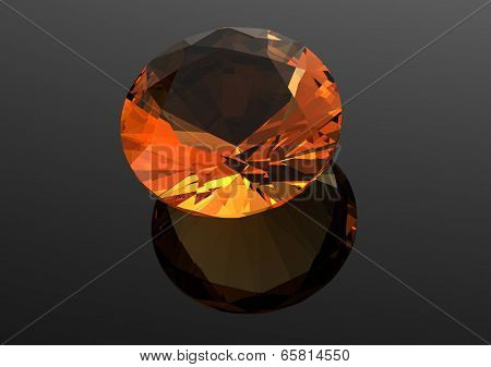 Luxury 3D diamonds render. Jewelry gemstone.  Citrine.