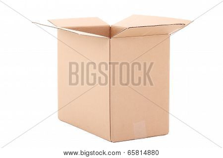 Open Brown Carton Box Over White