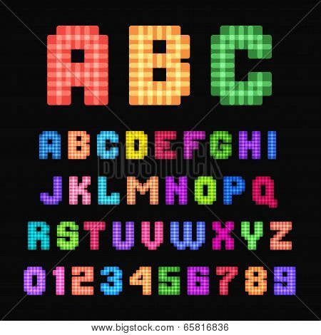 Pixel font.