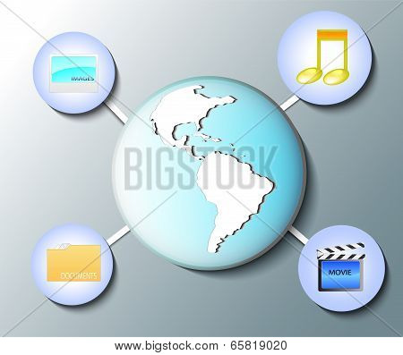 Illustration Of World Globe With Media Icons