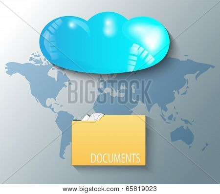 Illustration Of Cloud With World Map And Documents