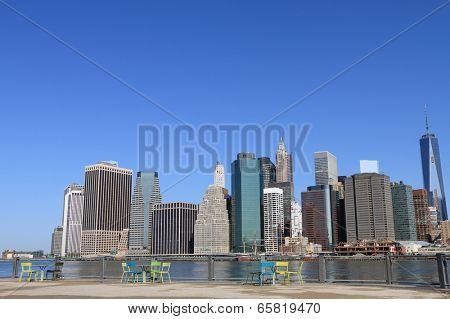 Lower Manhattan Skyline and Skyscrapers on a Clear Blue, New York City