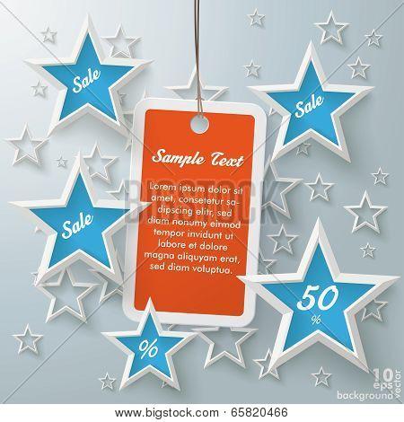 Orange Price Sticker Blue Stars
