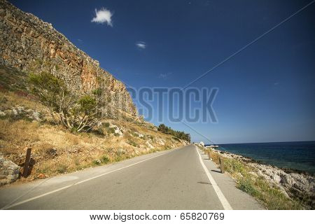 Road of Greek island Monemvasia.