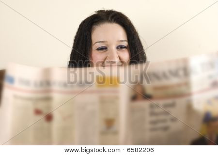 Laughing  Woman Read The News