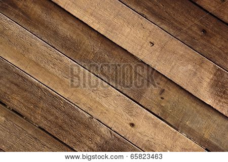 Weathered Wooden Slats Mounted To Form A Timber Wall